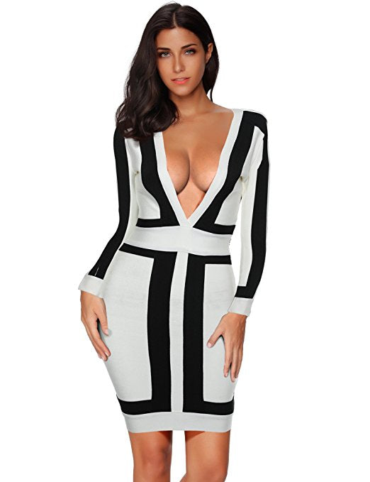Women's Long Sleeve Graphic Bodycon Party Bandage Cocktail