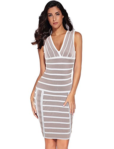 Womens V Neck Bodycon Party Bandage Night Dress