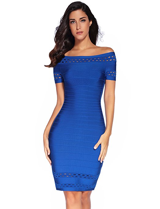 Womens Short Sleeve Hollow Out Bandage Party Dress