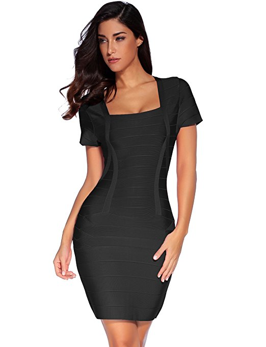 Women''s Bandage Dress Square Neck Bodycon Club Dress