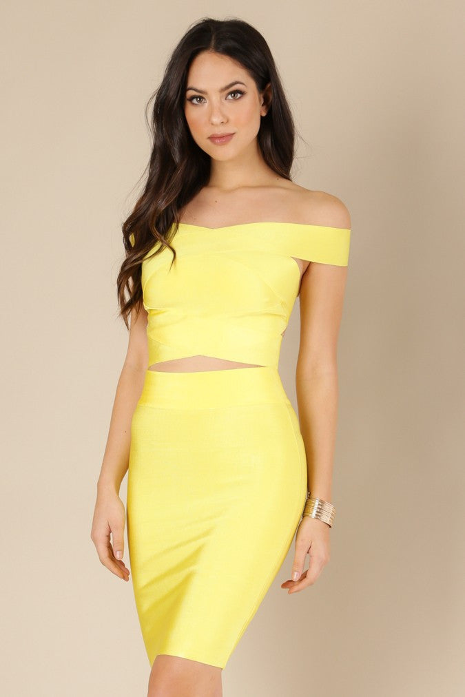 Yellow Off Shoulder Two Piece Bandage Dress