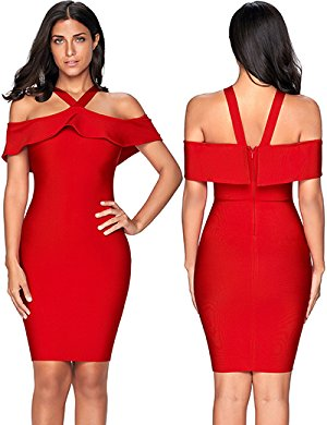 Womens Ruffles Cold Shoulder Bandage Bodycon Party Dress