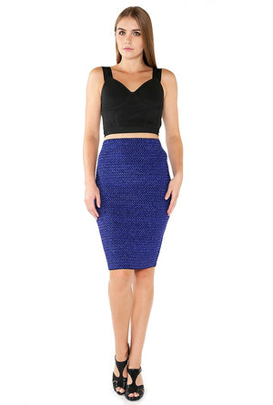 Textured Lurex Pencil Skirt