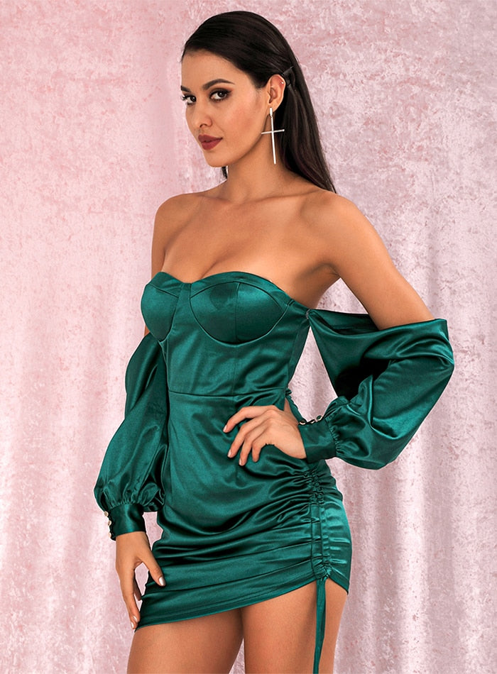 Green Off-The-Shoulder Silk Tube Top Loose Sleeves Smocked Tiestring Bodycon Dress