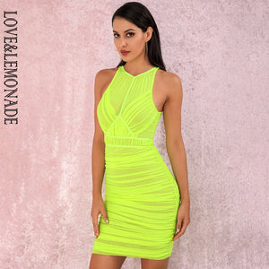 LOVE&LEMONADE  Fluorescent Green Round Collar Off Shoulder Mesh Stitching Pleated Bodycon Mini Party Dress LM81859 autumn/winter