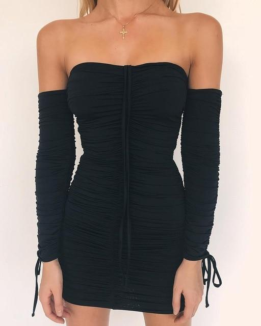 Off The Shoulder Long Sleeve Bodycon Dress with Front Pull String