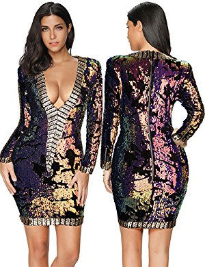 Womens Sequin Dress Long Sleeve Party Club Bodycon Dress