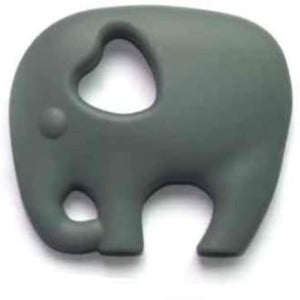 a grey elephant shaped silicone teether