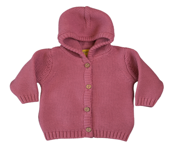 a pink coloured hooded knitted cardigan