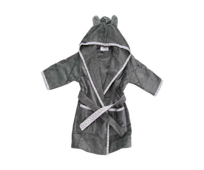 A dark grey bathrobe with ears on the hood and a light grey trim with an elephant pattern,