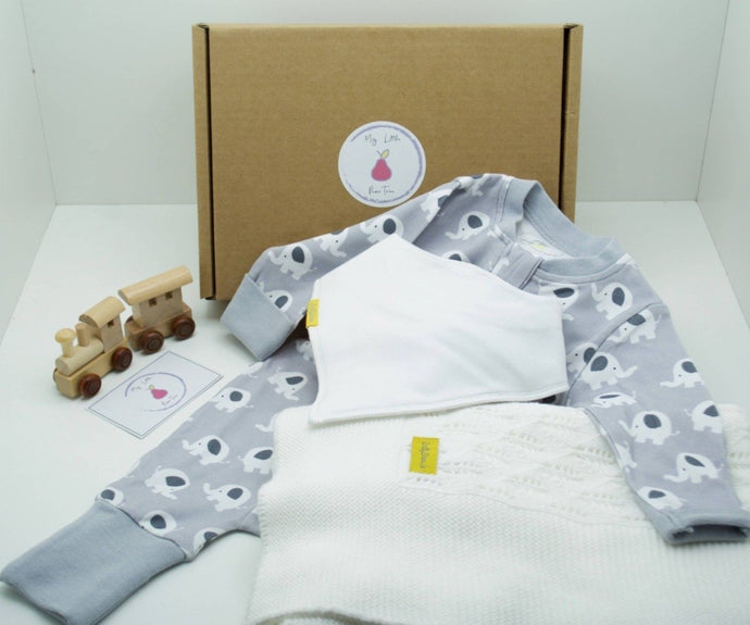 Natural coloured gift box with the My Little Pear Tree logo circular sticker on the lid, the sticker has a purple boarder with a pink pear in the centre with the writing My little Pear Tree, a zip up grey babygrow with white elephant pattern, a knitted white organic cotton blanket, a plain white bandana style bib, a wooden train with a carriage and a My Little Pear Tree card.