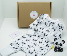 Load image into Gallery viewer, Natural coloured gift box with the My Little Pear Tree logo circular sticker on the lid, the sticker has a purple boarder with a pink pear in the centre with the writing My little Pear Tree, a zip up white babygrow with panda faces all over the babygrow, a black and white silicone panda shaped teether and a My Little Pear Tree card.