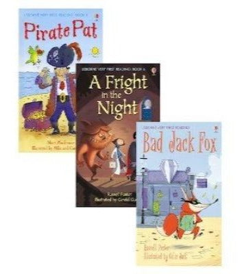 Cover Page for three Usborne books, Pirate Pat, A Fright in the Night and Bad Jack Fox.