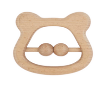 Load image into Gallery viewer, Light wooden colour bear shaped rattle teether