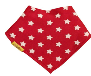red with white star pattern bandana style bib