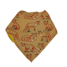 Load image into Gallery viewer, taupe bandana style bib with red, white and dark grey fox design