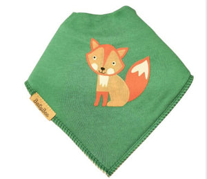 Green bandana style bib with orange fox design
