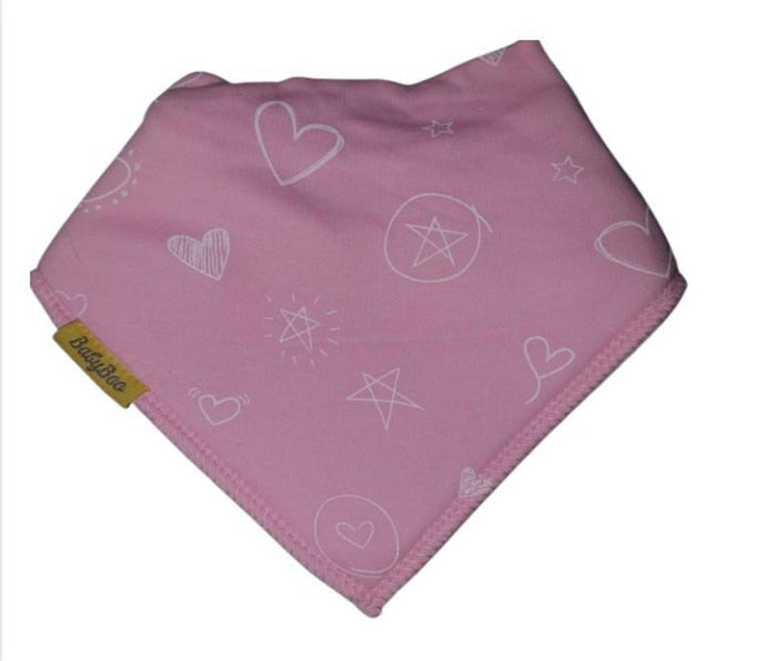 Pink with white heart and stars bandana style bib