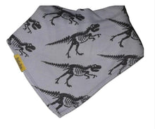 Load image into Gallery viewer, Grey with dinosaur t-rex skeleton design bandana style bib