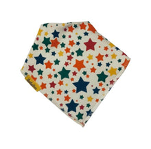 Load image into Gallery viewer, white with multi colour stars design bandana style bib