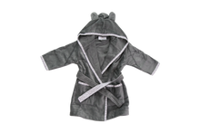 Load image into Gallery viewer, A dark grey bathrobe with ears on the hood and a light grey trim with an elephant pattern