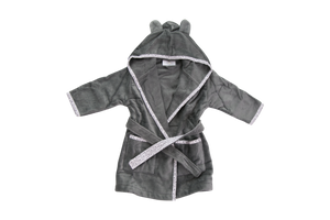 A dark grey bathrobe with ears on the hood and a light grey trim with an elephant pattern