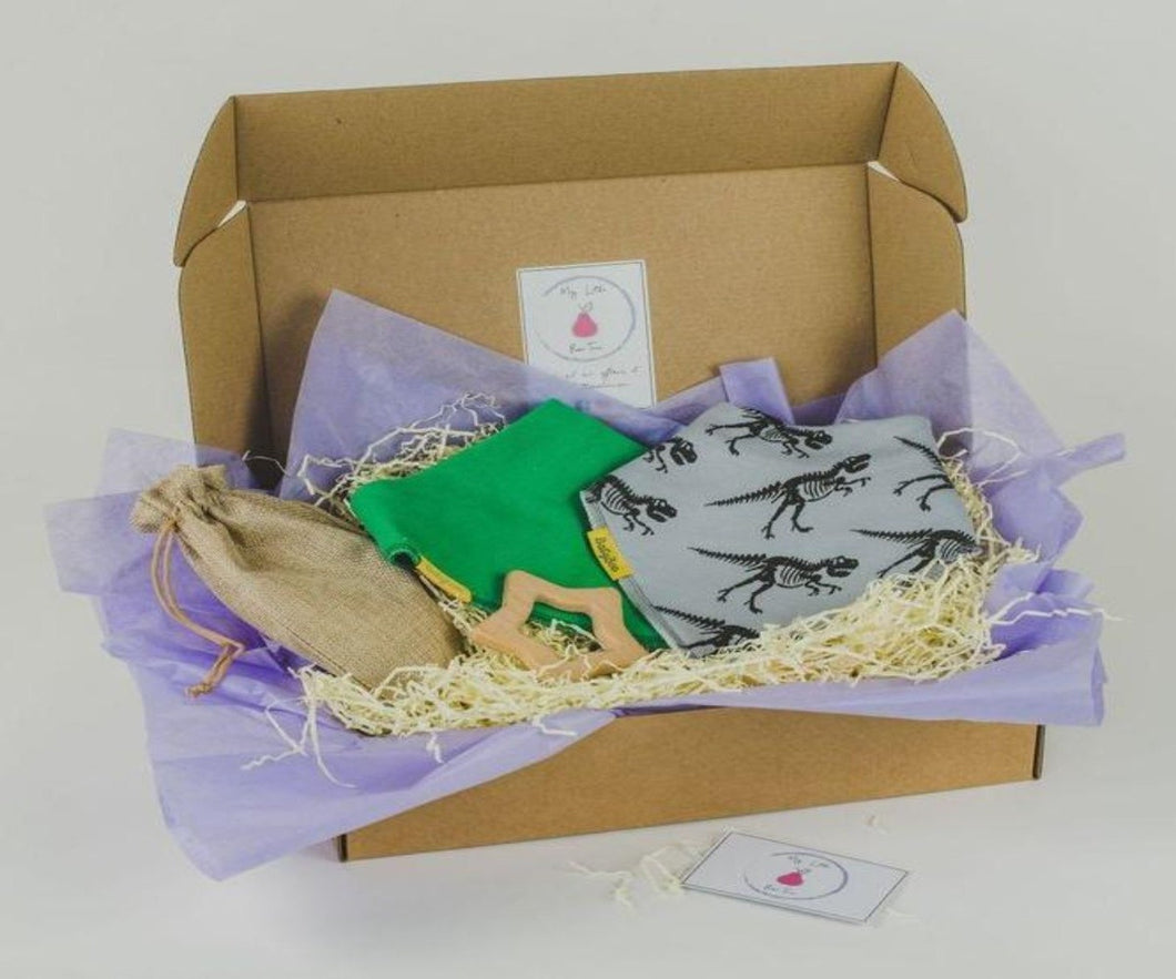 gift box including grey dino (t-rex) skeleton design in black bandana style bib, green bandana style bib and star beech wood teethe