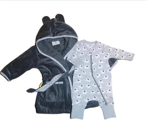 A dark grey bathrobe with ears on the hood and a light grey trim with an elephant pattern, A grey babygrow with white elephant pattern