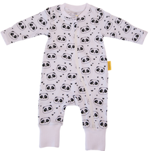 Load image into Gallery viewer, A zip up white babygrow with panda faces all over the babygrow