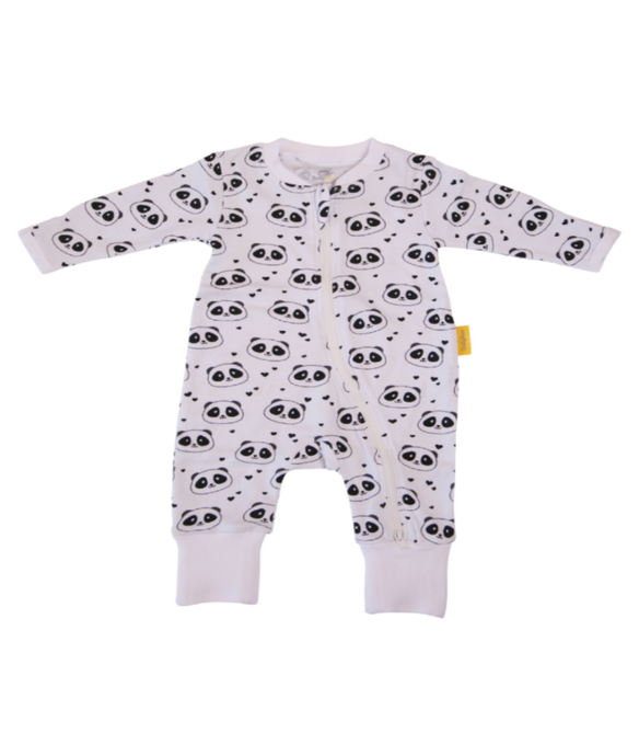 white babygrow with black and white panda face design and small black hearts. White zip at the front.