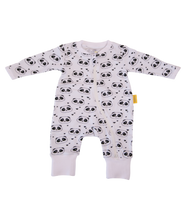 Load image into Gallery viewer, a zip up white babygrow with panda face pattern