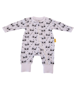 a zip up white babygrow with panda face pattern