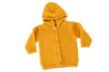 Load image into Gallery viewer, A yellow colour hooded knitted cardigan