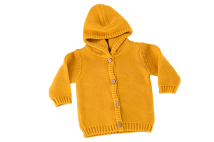 A yellow colour hooded knitted cardigan