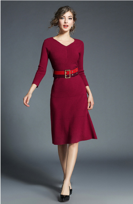Women V-Neck long sleeve medium length slim skirt