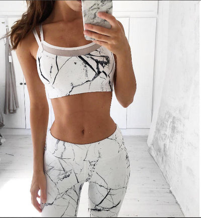 Vest Tank Top Leggings Tracksuit Clothing Fitness White Patchwork Gym Sportswear Outfits Sport Suit Women 2 Piece Yoga Set