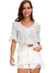 Drawstring Polka Dot Shirt