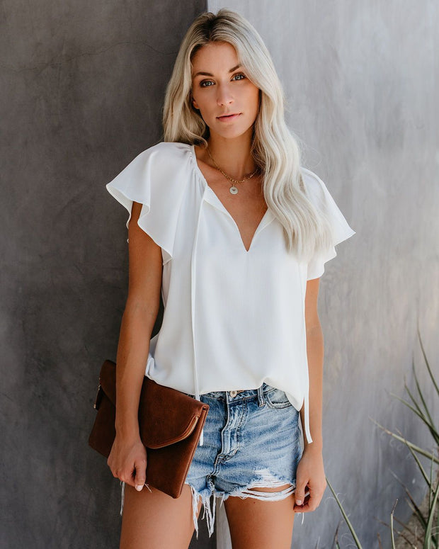 Short-sleeved rope women's casual top
