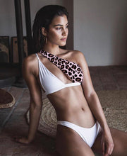 Sexy Leopard Print Swimsuit Female Patchwork Swimwear Women One Shoulder Bikini Set