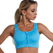 Front Zipper And No Steel Ring Gather Sports Bra