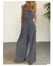 Retro Side Pocket Casual Wide-Leg Side Buckle Jumpsuit