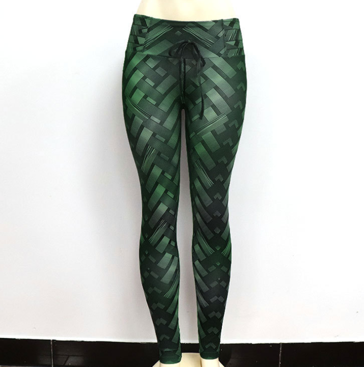 Four-needle six-line digital woven print hip high waist sports yoga pants