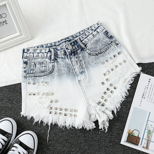 Light blue shorts gradient jeans