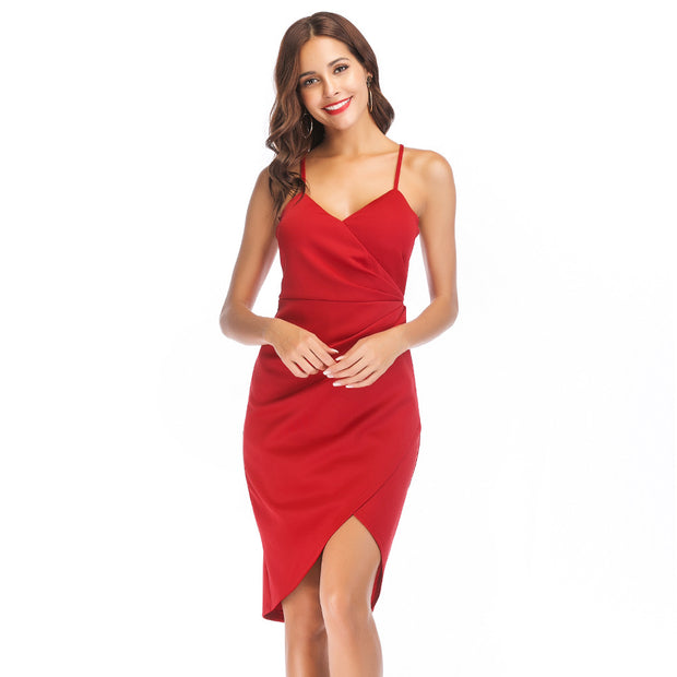 Ladies' Deep V Neck Irregular Hem Sling Dress