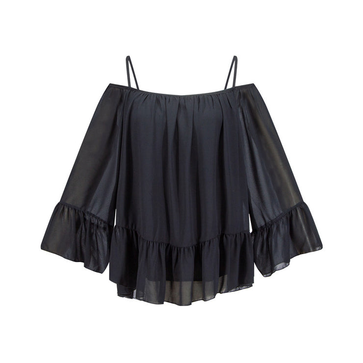 USA SIZE European and American women's long-sleeved loose ruffled chiffon shirt off-shoulder stitching halter top