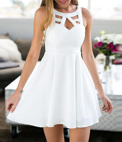 Pure color hollow waist sexy dress