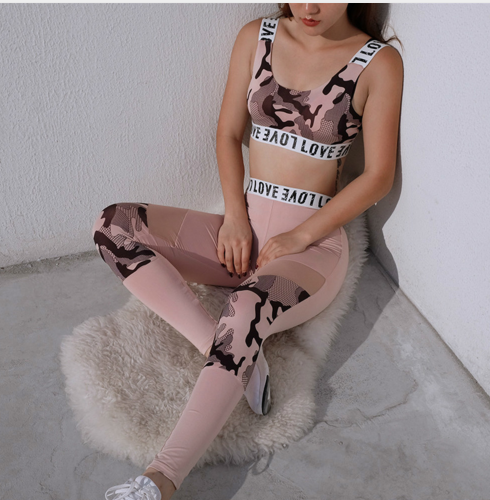 Summer hot new women's fashion mesh stitching camouflage printed yoga set