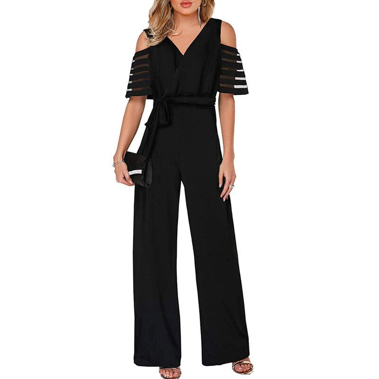 V-neck mesh patchwork short-sleeved jumpsuit