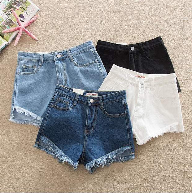 Tassel Hem High Waist Denim Shorts