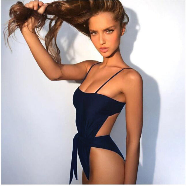 2021 Sexy Swimsuit Women Swimwear One Piece Halter One Piece Push Up Swimsuit Bandage Bathing Suit Wear Female Beachwear